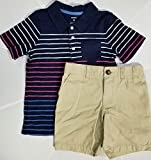 Carter's Boys 2 Pc Striped Polo Shirt Tee and Flat Front Shorts Set (Navy Stripe Polo Khaki Flat Front Shorts, 4T)