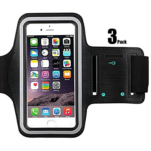 ([3Pack]Water Resistant Cell Phone Sports Armband for iPhone 8,7,6,6S,Adjustable Reflective Velcro Workout Band, Key Holder-purple)