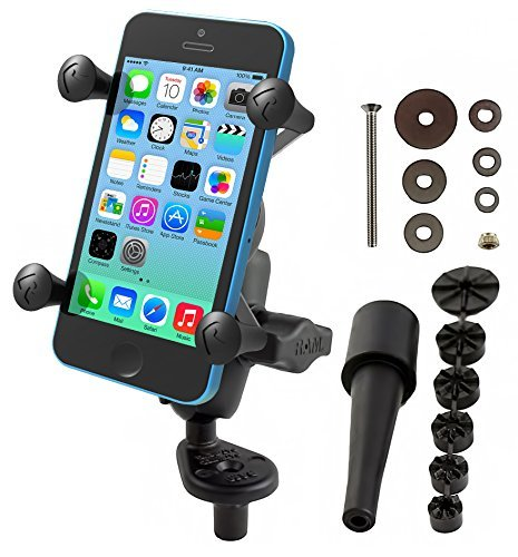 RAM Mounts (RAM-B-176-A-UN7U) Fork Stem Mount with Short Double Socket Arm and Universal X-Grip Cell/Iphone Holder by NationalMounts