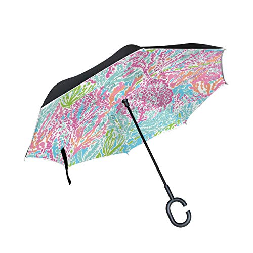 All agree Reverse Umbrella Lilly Pulitzer Pattern Inverted Umbrella Reversible for Golf Car Travel Rain Outdoor Black