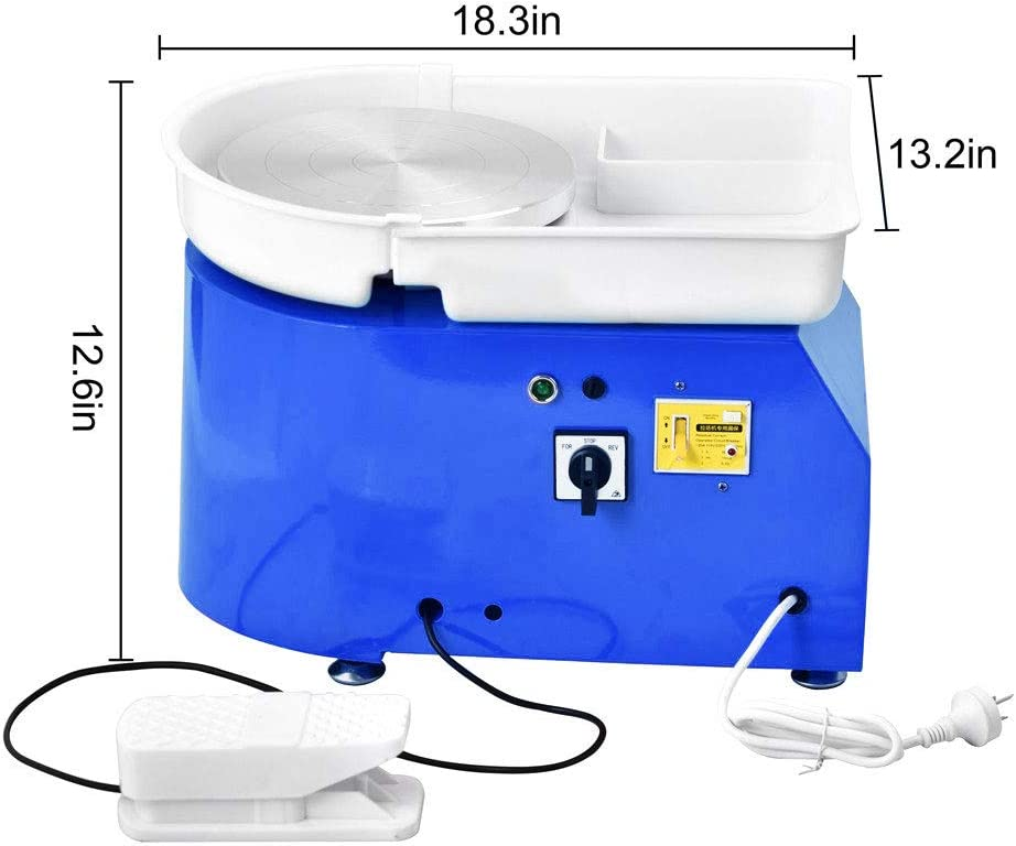 Blue InLoveArts 25CM 350W Electric Pottery Wheel Machine Hand Pushing Pedal Ceramic Work Clay Forming Tool with Tray and 8 Pcs Pottery Clay Tool Kit