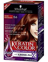 Schwarzkopf Keratin Color Anti-Age Hair Color Cream, 5.6 Warm Mahogany (Packaging May Vary)