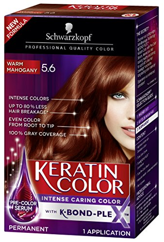 - Schwarzkopf Keratin Color Permanent Hair Color Cream, 5.6 Warm Mahogany(Packaging May Vary)