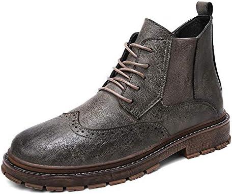 ブーツカジュアル個性ステッチレースアップ刻まれたブローグハイトップブーツメンズファッション 快適な男性のために設計