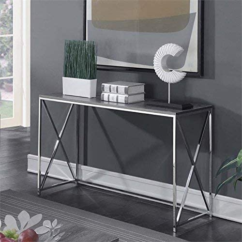 Convenience Concepts Belaire Console Table, Chrome Weathered Gray