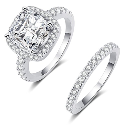 Mars wings 925 Sterling Silver White Cz Engagement Wedding Ring Sets for Women (8) by Mars wings
