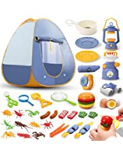 Eaglestone Kids Camping Tent Set Toys 36pcs Includes Pop Up Play Tent, Camping Gear Tools Adventure Set, Play Kitchen Food Set,Insects Set Indoor and Outdoor Toys Gifts for Toddlers Kids Boys Girls