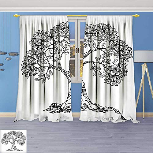 Philiphome Thermal Insulated Grommet Unlined Window Curtains of Life Themed Majestic Hand Drawn Branches Harvest Mother Earth Design Light Grey Set of Two (Majestic 2 Light Sconce)