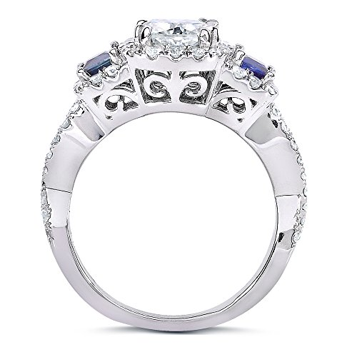 Near Colorless (F G) Moissanite Engagement Ring with Sapphire & Diamond 2 CTW 14k White Gold