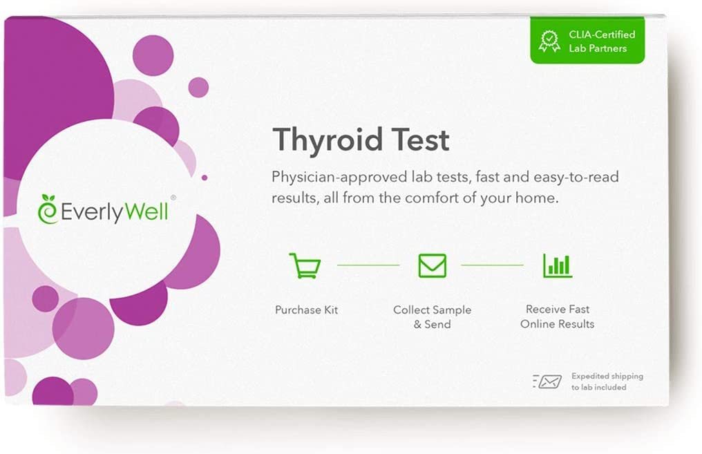 Everlywell Thyroid Test at Home Measures 3 Main Hormones - Discreet, Accurate Blood Analysis - Results Within Days - CLIA-Certified Adult Test - Not Available in NY, NJ, RI