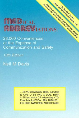Medical Abbreviations: 28,000 Conveniences at the Expense of Communication and Safety