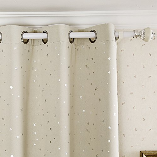 Room Foil (2 Panels Silver Star Foil Printed Soild Room Darkening Thermal Insulaed Blackout Curtains 1 Pair(42