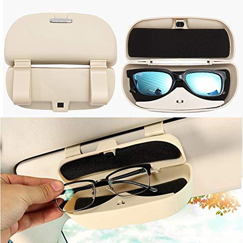Visor Case Holder - HOLDCY Car Glasses Holder Sun Visor Clip - Eye Sunglasses Storage Holder Box - Automotive Accessories ABS 1Pcs Apply to All Car Models (Beige)