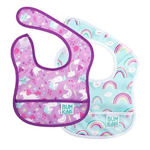 Bumkins Starter Bib, Baby Bib Infant, Waterproof, Washable, Stain and Odor Resistant, 3-9 Months, 2-Pack - Unicorns & Rainbows 3 Layer Infant Bib
