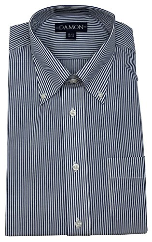 Damon Ultra Poplin Button Down Collar Bengal Stripe Dress Shirt (Navy, 16 34/35)