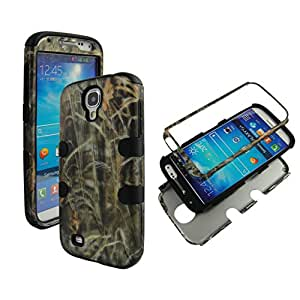 2D Hybrid 3 in 1 Black Camo Hay Samsung Galaxy S 4 High Impact Shock Defender Plastic Outside with Soft Silicon Inside Drop Defender Snap-on Tuff Combo Rugged Body Armor Defender Triple Layer Shockproof Case Cover