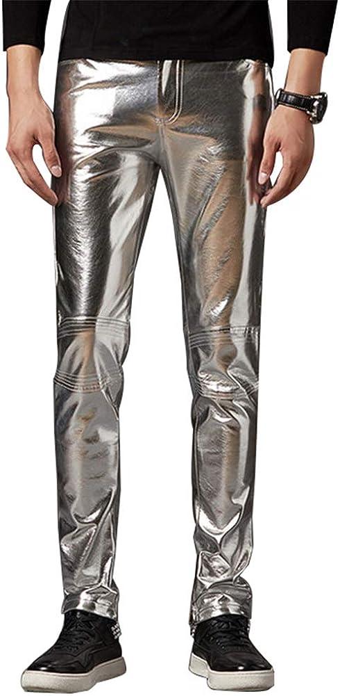 Pantalons De PU Leather para Hombre Pantalones De Cuero Slim Fit Moto Steampunk Hip Hop Biker Pantalón