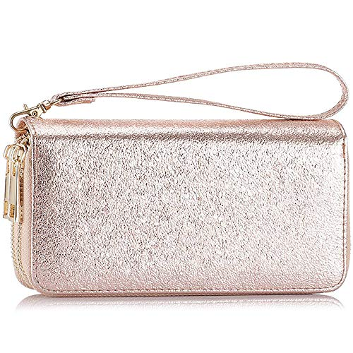 Double Zipper Long Clutch Wallet Cellphone Wallet for Women with Hand Strap for Card, Cash, Coin, Bill (Rose Gold) (Wallet Gold Clutch)