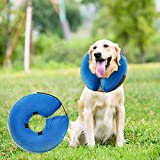 MorTime Protective Inflatable Collar for Dogs and Cats Adjustable Soft Pet Recovery Collar - Does Not Block Vision (Large-)