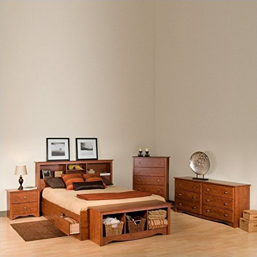 Prepac Monterey Queen 4 Piece Bedroom Set in Cherry (Monterey Queen Bed)