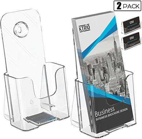 Ktrio 2 Pack Brochure Holder Acrylic Brochure Holders 4 x 9 Inches Plastic Flyer Holder Clear Literature Holder Desk or Wall MountBusiness Card Holder