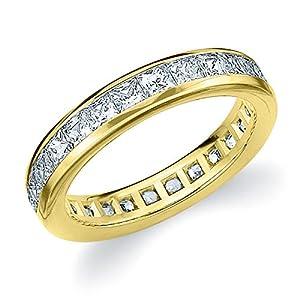 14K Yellow Gold Diamond Princess Eternity Ring (2.0 cttw, F-G Color, VVS2-VS1 Clarity) Size 7