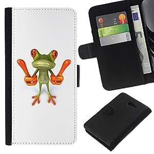 All Phone Most Case / Oferta Especial Cáscara Funda de cuero Monedero Cubierta de proteccion Caso / Wallet Case for Sony Xperia M2 // Smart Frog Funny Cartoon Minimalist White