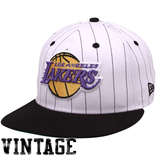 NBA New Era Los Angeles Lakers White-Black Pinstripe 9Fifty Snapback Adjustable ()