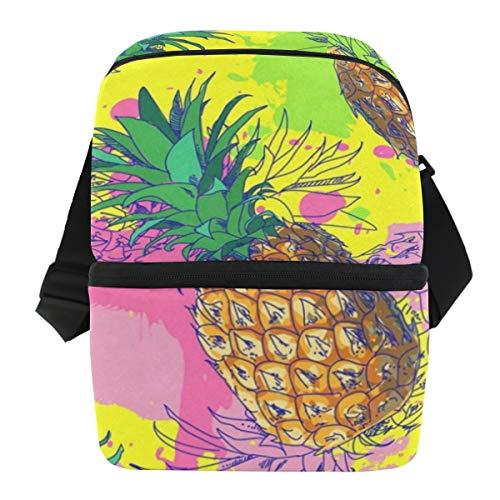 - Lunch Bag Tropic Fruit Pineapple Reusable Cooler Bag Adult Leakproof Thermos Box Zipper Tote Bags for Outdoor