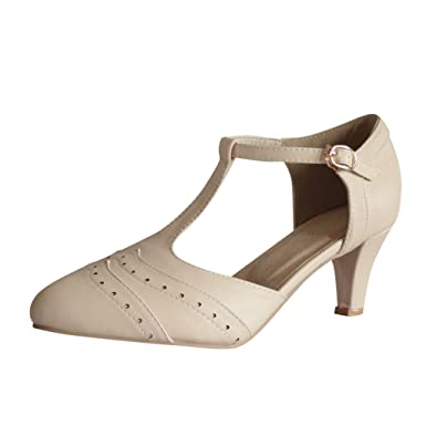 dad74b7cbf Amazon.com: Cenglings Womens Casual Round Toe T-Strap Stiletto Low Heel  Pumps Hollow Out Pu Leather Ankle Strap Sandals Office Shoes: Clothing