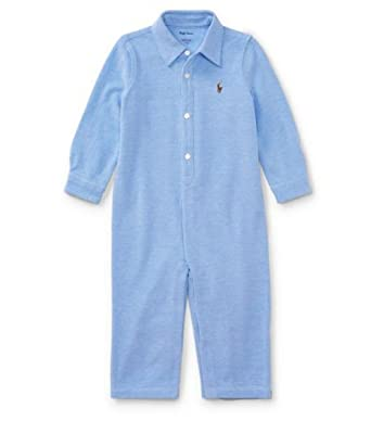 be629417 Ralph Lauren Baby Boys' Knit Cotton Oxford Coverall- Harbor Island Blue (3  Months