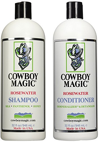 Cowboy Magic Rosewater Shampoo and Rosewater Conditioner Bundle, 32oz Each