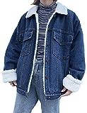 Jenkoon Women's Oversized Thick Warm Sherpa Fur Lined Denim Trucker Jacket Boyfriend Jean Coat (Dark Blue, Large)
