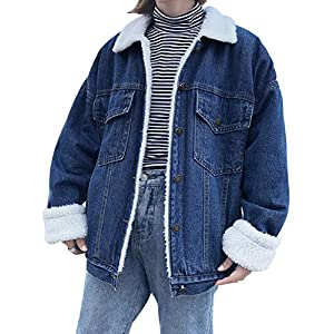 Jenkoon Women's Oversized Thick Warm Sherpa Fur Lined Denim Trucker Jacket Boyfriend Jean Coat