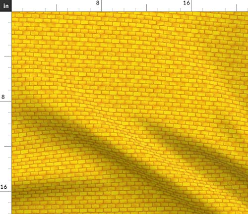 Spoonflower Yellow Brick Fabric - Yellow Brick Fantasy Stories Classics Fashion Home Decor Literature Print on Fabric by The Yard - Petal Signature Cotton for Sewing Quilting Apparel Crafts Decor