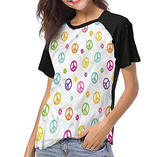 - Raglan Baseball Tee Short Sleeve,Groovy,Old Peace Sign Symbol S-XXL Baseball T-Shirt Tee Tops