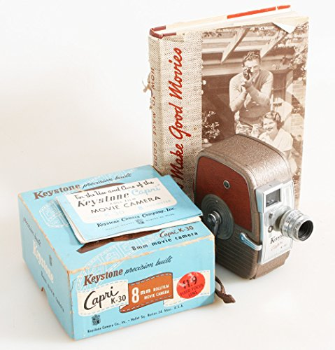 ART DECO MOVIE CAMERA IN BOX WITH MOVIE MAKING BOOK from KEYSTONE VINTAGE