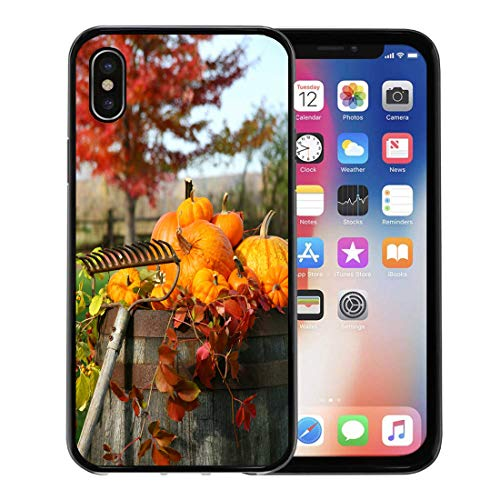 Semtomn Phone Case for Apple iPhone Xs case,Colorful Fall Rake and Pumpkins Laying on Wine Barrel Orange Halloween Harvest for iPhone X Case,Rubber Border Protective Case,Black ()