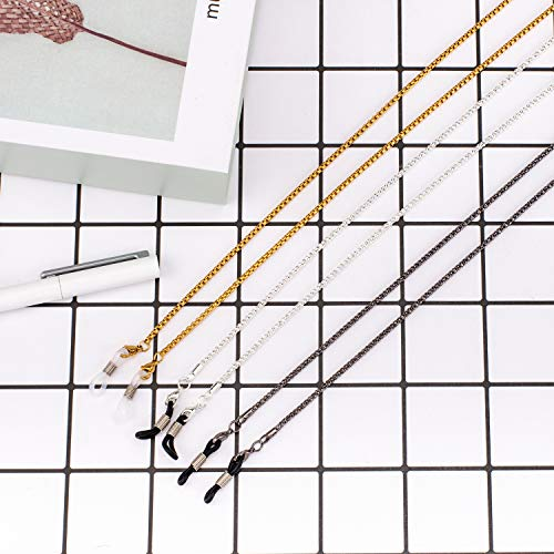 4961376acd5 Whaline 3 Pieces Eyeglasses Chain Cord Sunglass Neck Strap Holder Silver  Golden Black