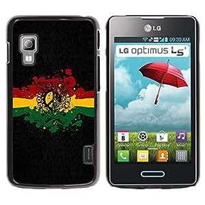 Be Good Phone Accessory // Dura Cáscara cubierta Protectora Caso Carcasa Funda de Protección para LG Optimus L5 II Dual E455 E460 // Rasta Reggae Peace Sign