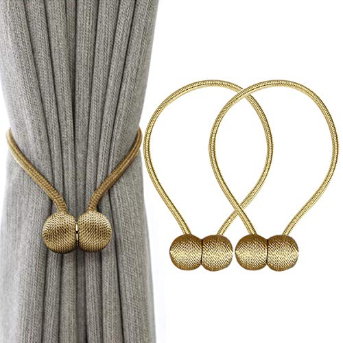 IHC Window Curtain Tiebacks Clips VS Strong Magnetic Tie Band Home Office Decorative Drapes Weave Holdbacks Holders European Style 1 pair (Gold)