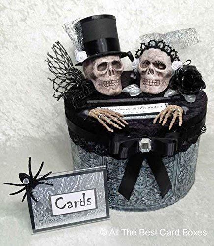 Gothic Wedding Card Box, Halloween Décor, Skull, Bride and Groom, Handmade, Personalized, All The Best Card Boxes ()