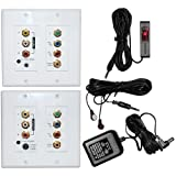 Component Composite Video Digital Stereo Audio IR Repeater Kit System Over CAT5