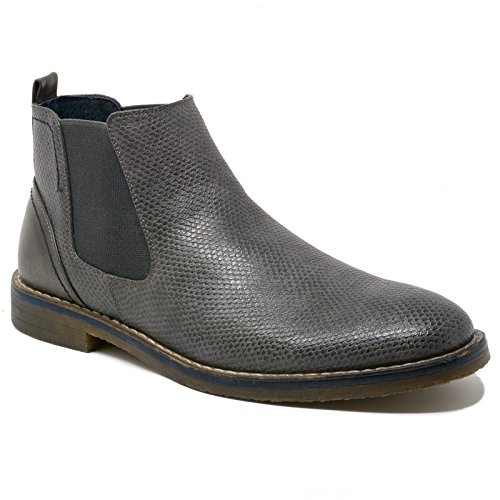 alpine swiss Men's Nash Chelsea Boots Snakeskin Ankle Boot Genuine Leather Lined Gry 10 M US (Stripe Side Mens Boots)