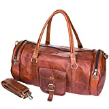 Urban Leather Gym Bag Sports Luggage Tote Duffle Bags For Men & Women | Travel Weekender Overnight Duffel Bag | Carry On Airplane Cabin Bag Size 20 in