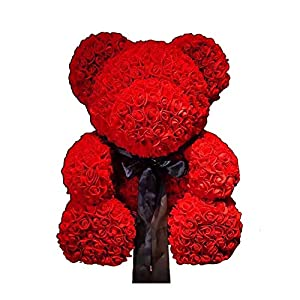 25cm Soap Foam Bear of Roses Teddy Bear Rose Flower Artificial for Valentine's Day Lovers Birthday Christmas Wedding Gift (Red) 51