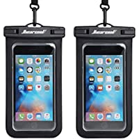 """Hiearcool Universal Waterproof Case,Waterproof Phone Pouch Compatible for iPhone 11 Pro Max XS Max XR X 8 7 6S Plus Samsung Galaxy s10/s9 Google Pixel 2 HTC Up to 7.0"""",IPX8 Cellphone Dry Bag -2 Pack"""