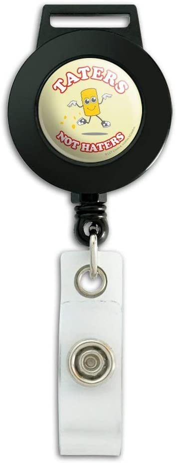 Taters Not Haters Tots Funny Humor Lanyard Retractable Reel Badge ID Card Holder