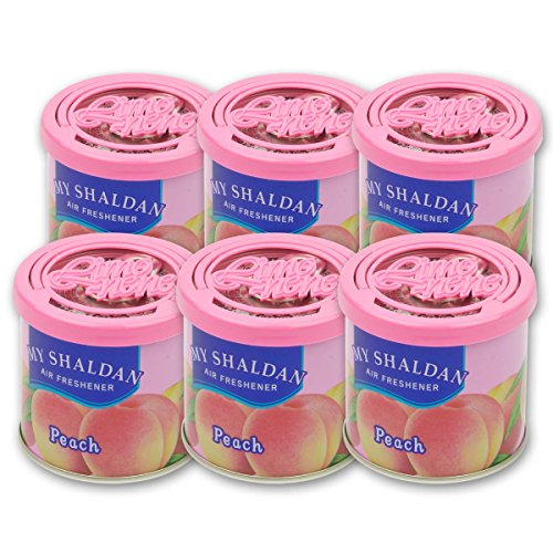 (Pack of 6 My Shaldan Japanese Car Cup-Holder Natural Air Freshener Cans (Peach Scented))