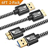 Galaxy S5/Note 3 Charger Cable, BEST4ONE 6ft 2-Pack Long Gold-Plated Braided Micro USB3.0 Fast Charging Cord for Samsung Galaxy S5 and Note 3 (Black)
